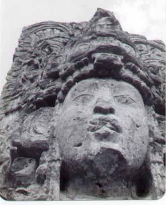 Copán - Stela H detail, depicting king Uaxaclajuun Ub'aah K'awiil