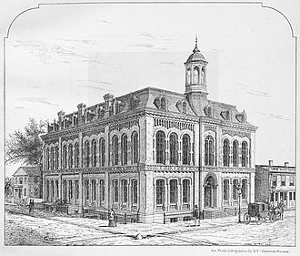 Tompkins County Public Library - Cornell Free Library, Seneca and Tioga streets, 1864 to 1960.