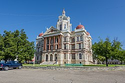 The Coryell County Courthouse in Gatesville, Texas. The courthouse was added to the National Register of Historic Places on August 18, 1977.