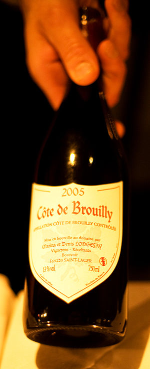 Bottle of Cote de Brouilly Beaujolais wine. Ph...