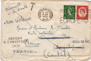 Postal marking - This 1953 cover has a normal postmark and two French service markings.