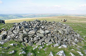 Tor cairn - Cox Tor cairn - a platform of loose stones