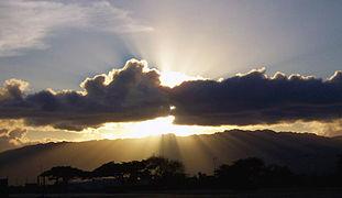 Crepuscular ray sunset at Pearl Harbor.jpg