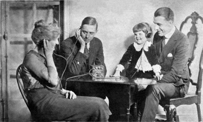 A family listening to a crystal radio in the 1920s Crystal radio advertisement.png