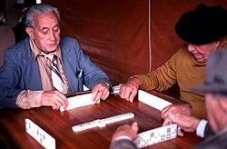 Cuban American men playing dominoes in Little Havana Miami, Florida