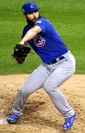 Cubs starter Jake Arrieta delivers a pitch in the first inning of World Series Game 6. (30634543481) (cropped).jpg