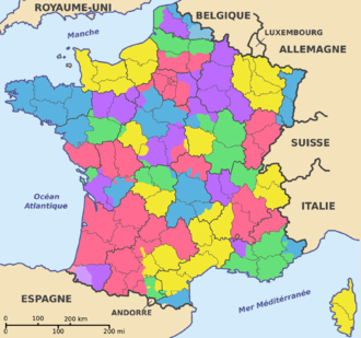 Departments of France - The former provinces (colours) and the departements (limits in black)