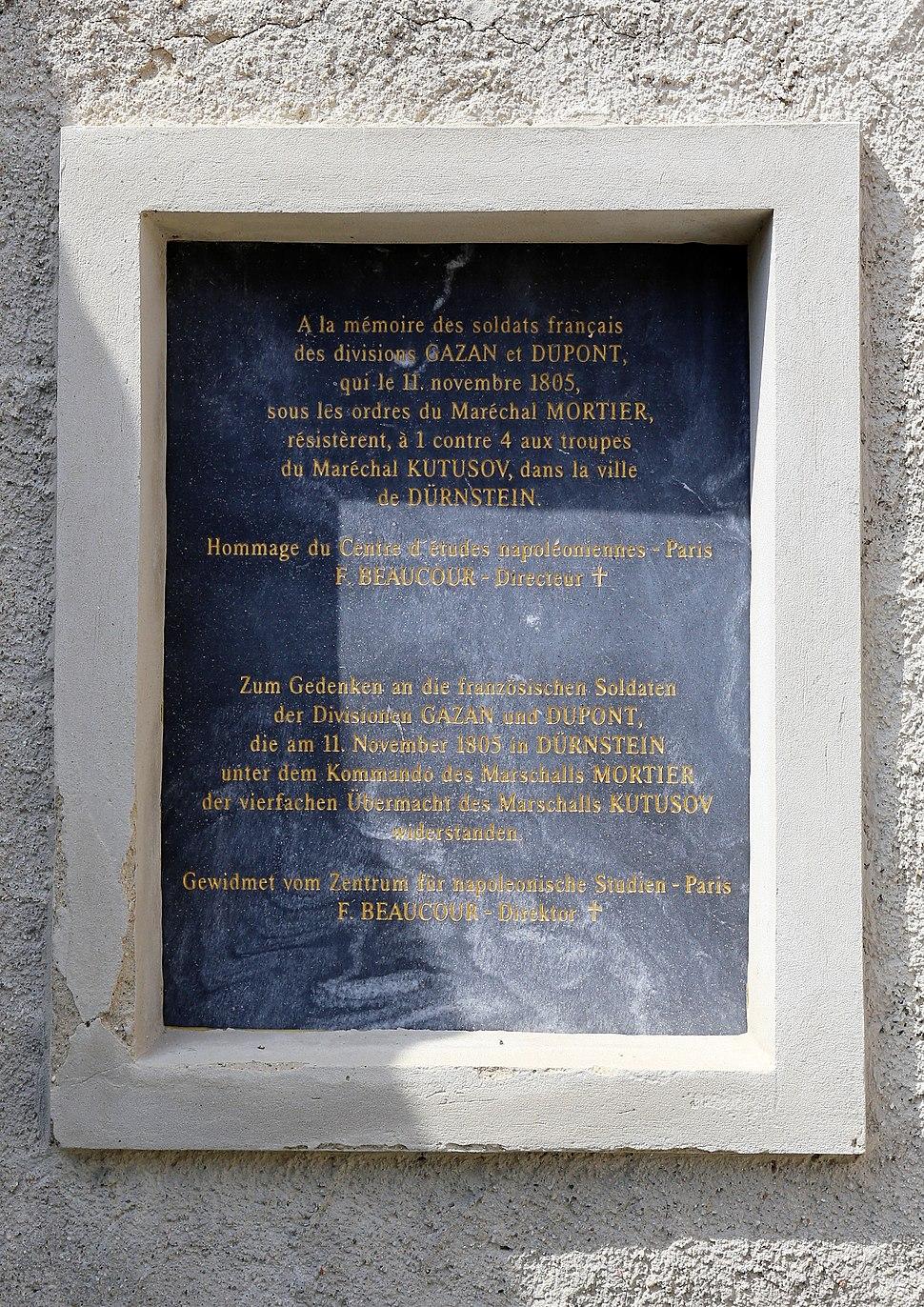 Dürnstein - Gedenktafel