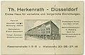 Düsseldorf, Geschäftshaus Kasernenstraße 1-3-5'Ecke Wallstraße, stilisierte Ansicht, Visitenkarte Möbelhaus Theo Herkenrath, ca. 1920-1926.jpg