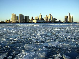 Der Detroit River im Winter