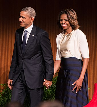 Obama and his wife Michelle at the Civil Rights Summit at the LBJ Presidential Library, 2014 DIG13623-230.jpg