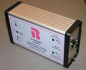 "DI unit - A high-quality, expensive passive DI box. It is called a ""passive"" DI box because it does not need any battery power or external power to operate. DI boxes which require a battery or external power (e.g., phantom power) are called ""active"" DI boxes"