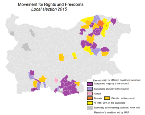 Movement for Rights and Freedoms - Map showing impressive performance of MRF at the Bulgarian local elections, 2015 compared to the other minority party People's Party Freedom and Dignity, which won no mayors of the municipalities or councils.