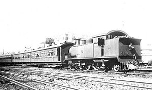 WAGR D class - D class with a set of suburban coaches, Perth Yard, 1926