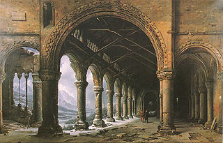 Effect of Fog and Snow Seen through a Ruined Gothic Colonnade