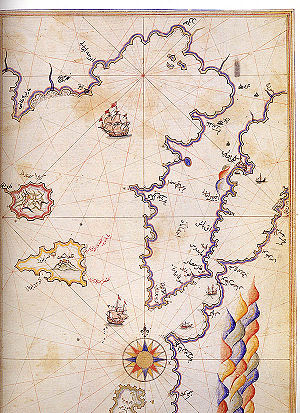 Gulf of Saros - Historic map of Saros Bay by Piri Reis