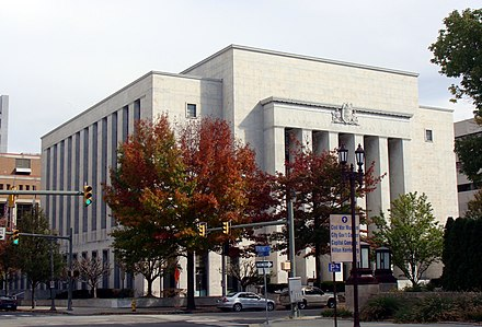 Dauphin County Courthouse, located along the Susquehanna River at Front and Market Streets in downtown Harrisburg Dauphin County Courthouse.jpg