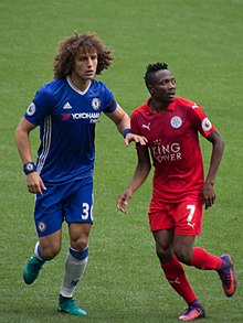 David Luiz Left Musa Right Playing For Leicester City In A League Match Against Chelsea At Stamford Bridge On