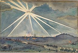 David M Carlile - Hun Plane Caught in Searchlights.jpg