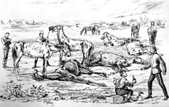 North-West Mounted Police - Mounted police in Dead Horse Valley in 1874, depicted by Henri Julien