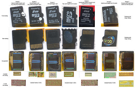 Images of genuine, questionable, and fake/counterfeit microSD (Secure Digital) cards before and after decapsulation. Details at source, photo by Andrew Huang. Decapsulated microSD memory card lineup-genuine, questionable, and fake-counterfeit.jpg