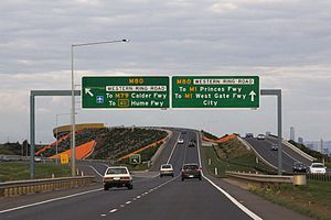 Western Highway (Victoria) - Eastbound on the Deer Park Bypass approaching the Western Ring Road interchange