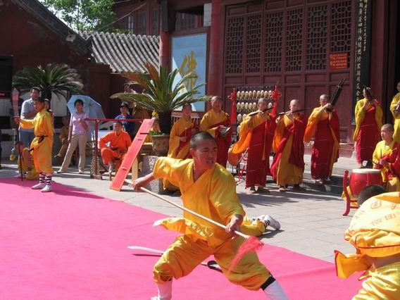 Demonstrating Kung Fu at Daxiangguo Monestary, Kaifeng, Henan