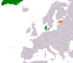 Map indicating locations of Denmark and Estonia