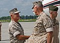 Dennis Hejlik (left), commanding general of II Marine Expeditionary Force, greets James Conway, Commandant of the Marine Corps.jpg