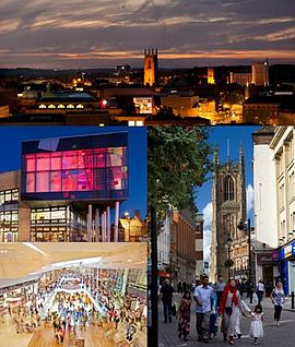 Derby Skyline and landmarks, clockwise from top left: Quad, Derby Cathedral, Intu Derby