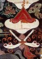 Detail of two shin-bone trumpets from a Tibetan banner Wellcome L0030388.jpg