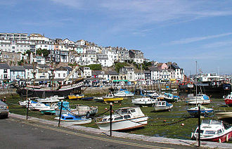 The inner harbour, Brixham, south Devon, at low tide. Devon.brixham.750pix.jpg