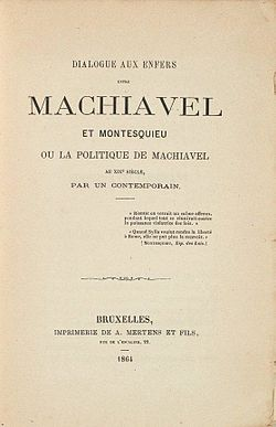 Image illustrative de l'article Dialogue aux enfers entre Machiavel et Montesquieu