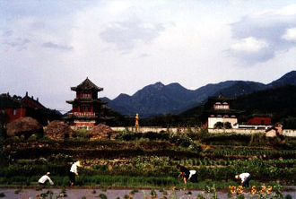 Donglin Temple (Jiangxi) - Image: Distant View w. Peasants