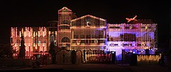 A house decorated with lights in Karnal during Diwali