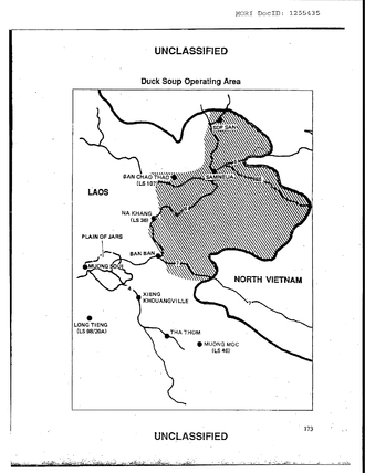 Long Tieng - Long Tieng (lower left) marked on a 1965 map