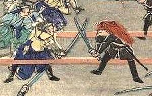 Shōgitai - Duel between a Shōgitai (left) and a Shaguma (right) in the Battle of Ueno.