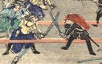 Shaguma - Duel between a Shōgitai and Shaguma-wearing Jinshotai (迅衝隊) at the Battle of Ueno