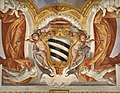 Duomo di viterbo, interno, coro dei canonici, con affreschi di giuseppe passeri, 1683, stemma forse sacchetti 01.jpg