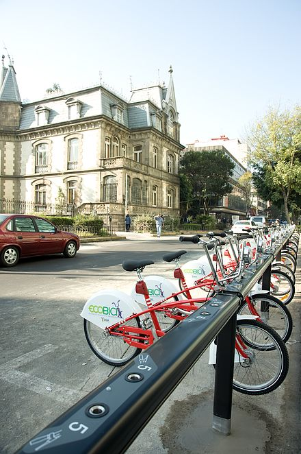Bicycles available for rental in Zona Rosa ECOBICI1.jpg