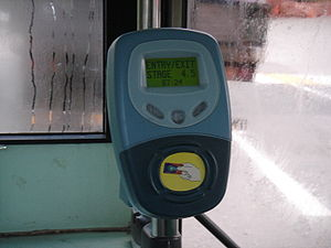EZ-Link - An old EZ-Link card reader on the entrance of an SMRT bus. There are usually two readers on both entrance and exit(s) of every public bus in Singapore.