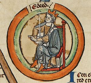 King Eadred of England (923-955) Eadred - MS Royal 14 B VI.jpg