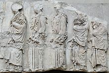 Photograph of part of the Parthenon frieze, showing five girls in profile.