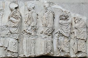 Women in Classical Athens - The Panathenaea was Athens' most important religious festival, and the Parthenon Frieze is believed to show the Great Panatheneia procession. In this section, the leading girl carries an incense burner; those behind her carry jugs for pouring libations.