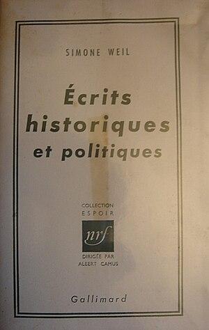 Ecrits historiques et politiques, Simone Weil.jpg