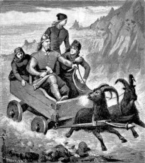 Þjálfi and Röskva - Thor, Loki, Þjálfi, and Röskva ride in Thor's goat-driven chariot in an illustration from an 1893 edition of the Poetic Edda.