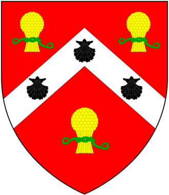Baron Henley - Arms of Eden: Gules, on a chevron argent between three garbs or banded vert as many escallops sable; quarters Henley; crest: A dexter arm in armour couped at the shoulder proper and grasping a garb or; supporters:d dexter: A lion argent semée of torteaux ducally crowned or having a plain collar or rimmed azure on the collar three escallops sable and pendant therefrom a shield or charged with an eagle displayed with two heads sable; sinister: A stag argent semée of torteaux, attired or gorged with a plain collar or rimmed azure on the collar three escallops sable and pendant therefrom a shield or charged with an eagle displayed with one head sable