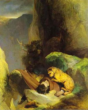 Loyalty - Foxie, guarding the body of her master Charles Gough, in  Attachment by Edwin Landseer, 1829