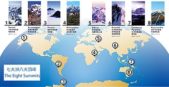 Eight Summits - Location and altitude of Eight Summits - eight highest mountains in each of the continents.