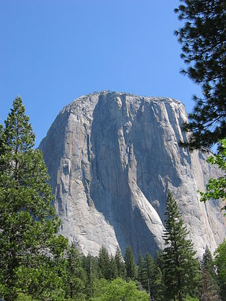Star Trek V: The Final Frontier - A fiberglass model on location at Yosemite stood in for the real El Capitan, pictured here